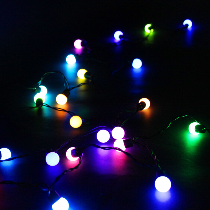 bunte rgb led lichterkette 5m 50 kugeln weihnachten deko christmas leuchte ebay. Black Bedroom Furniture Sets. Home Design Ideas
