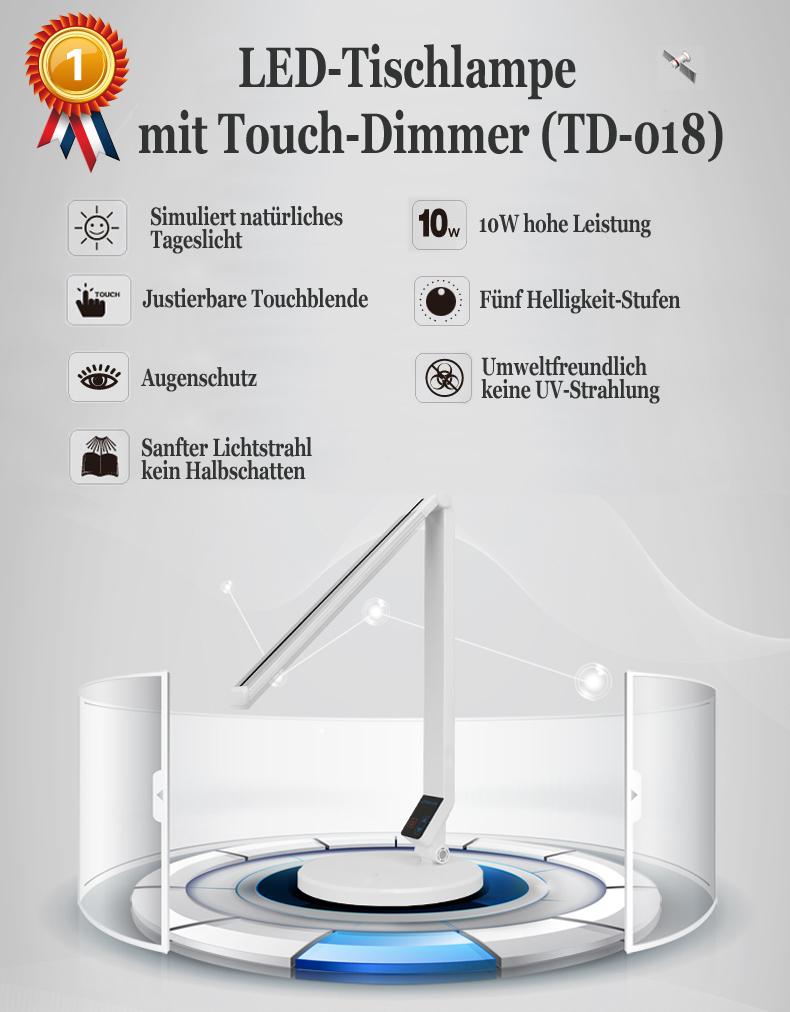 led tischlampe touch dimmer kalender wecker leselampe b rolampe schreibtisch ebay. Black Bedroom Furniture Sets. Home Design Ideas