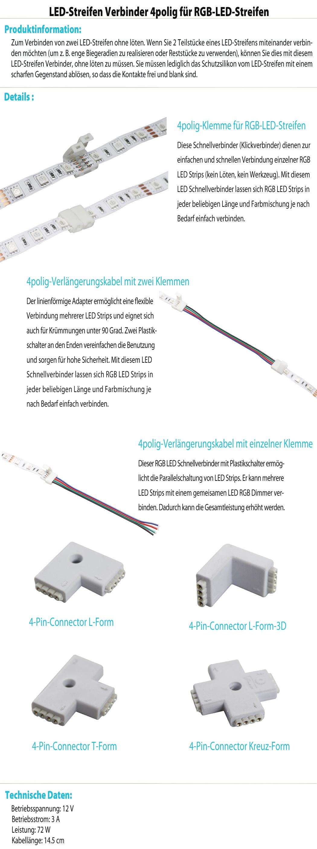 schnellverbinder connector verl ngerungskabel l t verbinder f r rgb led strip ebay. Black Bedroom Furniture Sets. Home Design Ideas